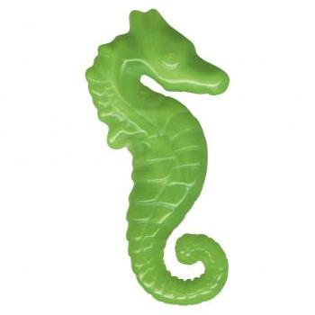 Art Deco Carved Sea Horse Pin Brooch Green Bakelite Style Plastic