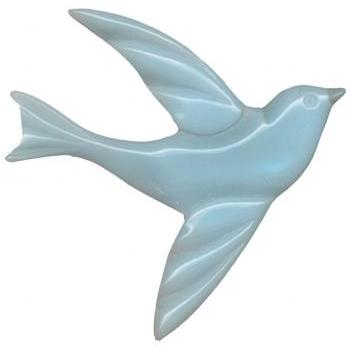 Beautiful Blue Bird 30s Bakelite Styled Carved Plastic Pin Brooch Art Deco